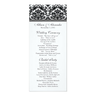 "Damask Wedding Program Black & Charcoal Grey 4"" X 9.25"" Invitation Card"