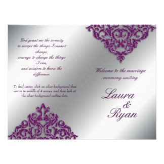 Damask Wedding Program Flyer Silver Purple Glitter