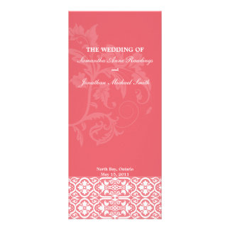 Damask Wedding Program- Honeysuckle Pink Wedding Rack Card