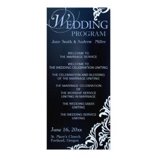 Damask Wedding Program Rack Cards - dark blue