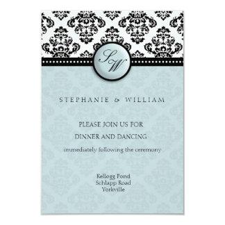 Damask Wedding Reception Card