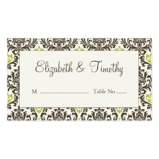 Damask Wedding Reception Escort Cards Double-Sided Standard Business Cards (Pack Of 100)