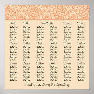 Damask Wedding Reception Seating Chart - Square Print