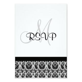 Damask Wedding RSVP black and white 3.5x5 Paper Invitation Card