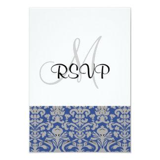 Damask Wedding RSVP blue and white Custom Invites