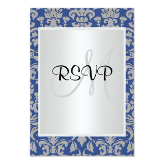 Damask Wedding RSVP blue and white 3.5x5 Paper Invitation Card