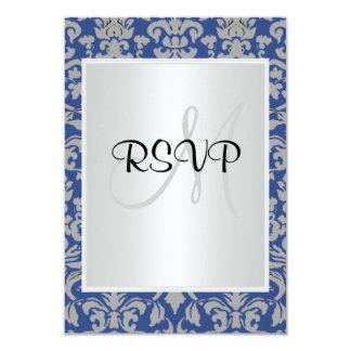 Damask Wedding RSVP blue and white Custom Invite