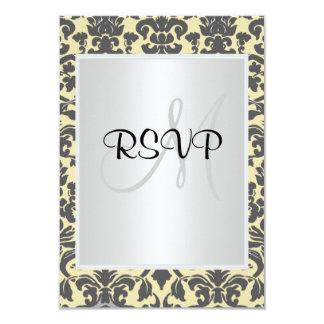Damask Wedding RSVP  Cream white 3.5x5 Paper Invitation Card