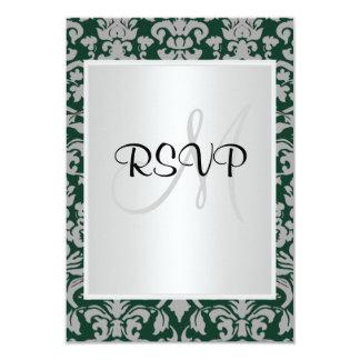 Damask Wedding RSVP Dark Green white 3.5x5 Paper Invitation Card