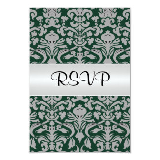 Damask Wedding RSVP  Old Green Personalized Invite