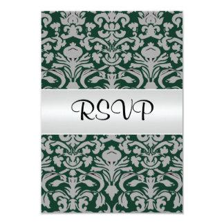 Damask Wedding RSVP  Old Green 3.5x5 Paper Invitation Card