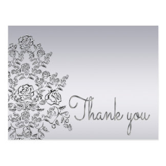 Damask wedding silver Thank You Card Postcard