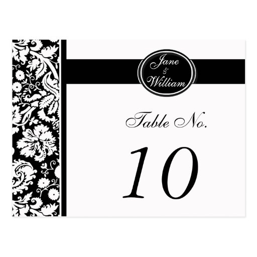 Damask Wedding Table Number Card - Color Select