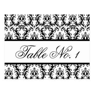 Damask Wedding Table Number Card White Black