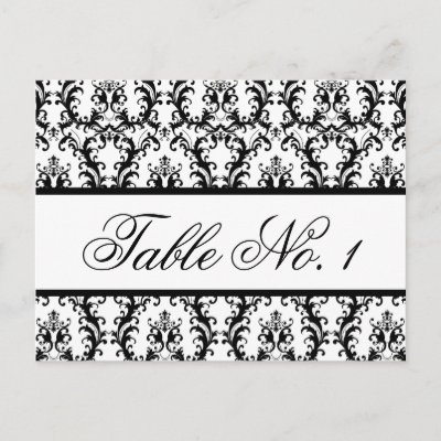 Damask Wedding Table Number Card White Black Postcard by monogramgallery