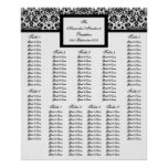 Damask Wedding Table Seating Arrangement Chart Print