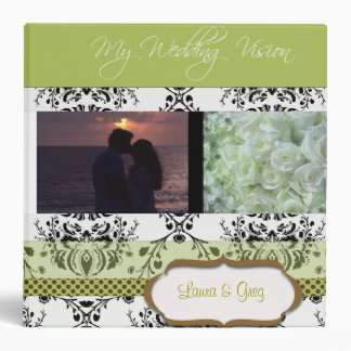 Damask Wedding Vision Planner - add your photos Vinyl Binder