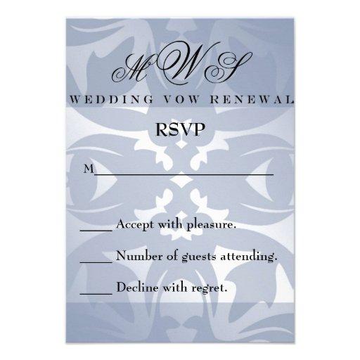 Damask Wedding Vow Renewal RSVP Card 35 X 5 Invitation Card