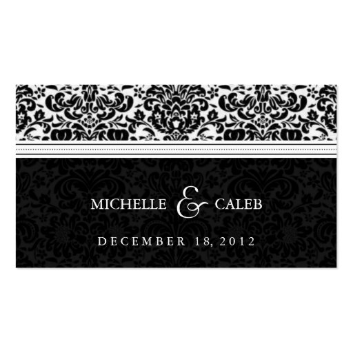 damask wedding website business card