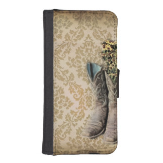 damask western country cowboy boots iPhone SE/5/5s wallet case