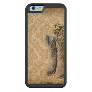 damask western country cowboy boots carved® maple iPhone 6 bumper