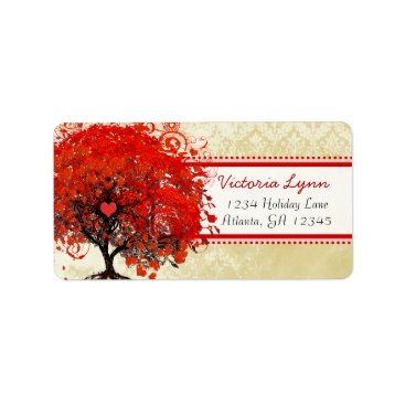 Valentines Themed Damask Whimsical Heart Leafed Tree Red Pink Dots Label