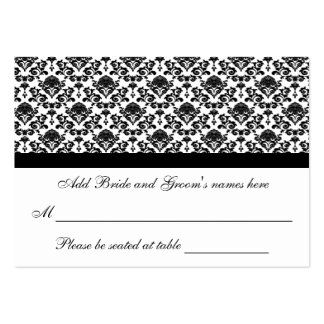 Damask White And Black Formal Seating Place Card Large Business Cards (Pack Of 100)