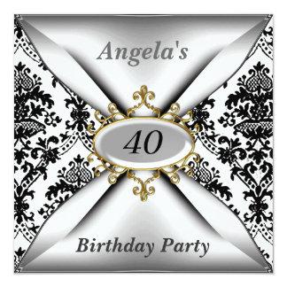 Damask White Birthday Party Celebration Invitation