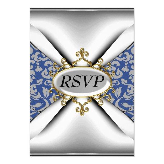 Damask White Birthday Party Celebration RSVP Card