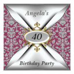 Damask White Birthday Party Old Red Invitation
