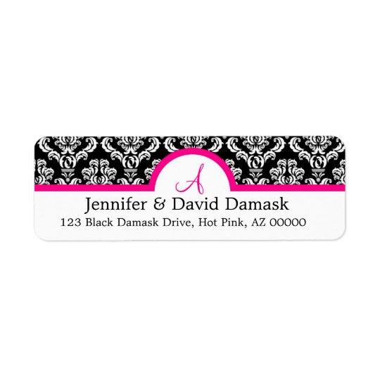 Damask White Black Return Address Labels