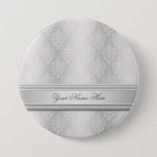 Damask White Button