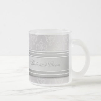 Damask White Frosted Glass Coffee Mug