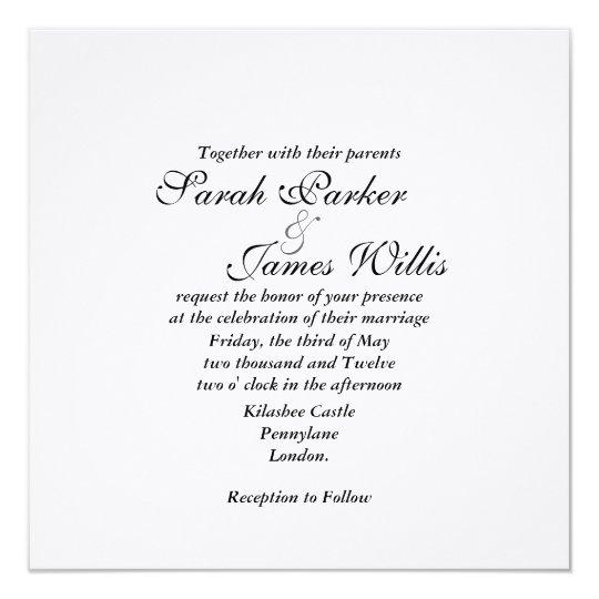 Damask white linen & canary yellow  Wedding Invite