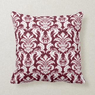 Damask White Metallic Burgundy Bordeaux Red Velvet Throw Pillow