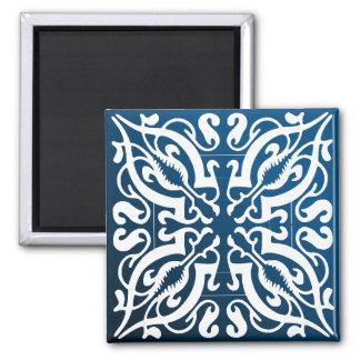 Damask white on blue+black bg 2 inch square magnet