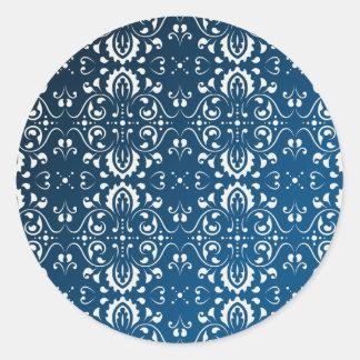 Damask white on blue+black bg classic round sticker