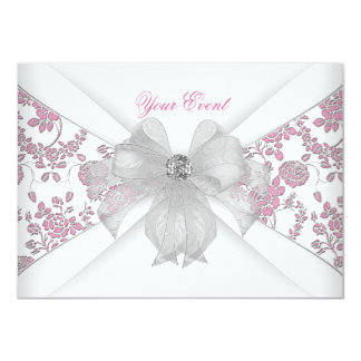 Damask White Pink Floral Jewel Bow Party Card