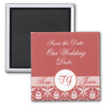 damask white red, Save the Date, Our Wedding, D... Magnet