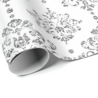 Damask White Royal Gray Silver Glitter Wrapping Paper