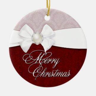 Damask White Satin Merry Christmas Ornament