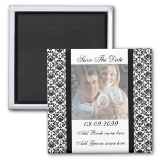 Damask White Save The Date Photo Magnet Magnet