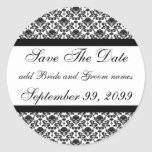 Damask White Save The Date Reminders Classic Round Sticker