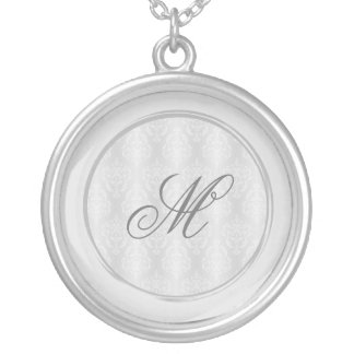 Damask White Silvery Gray Border Silver Plated Necklace