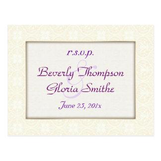 Damask White Wedding RSVP Post Cards