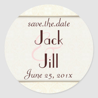 Damask White WEDDING Save-the-Date Classic Round Sticker
