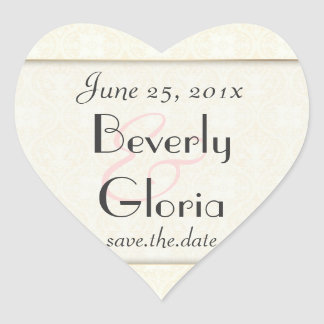 Damask White WEDDING Save-the-Date Heart Sticker