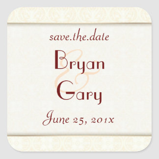 Damask White WEDDING Save-the-Date Square Sticker