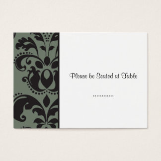 damask white; wedding table seating business card