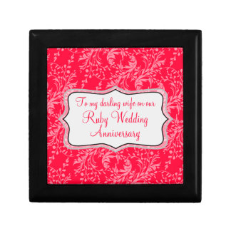 Damask wife Ruby wedding gift box red black